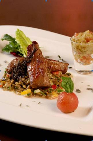 Baby lamb fillets with rosemary on warm lentil salad, smoked zucchini salad