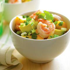 Mango, avocado and prawn salad