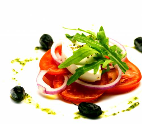Tomato salad with feta and black