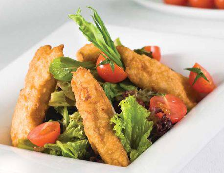 Salad with Tempura Fish Fillet