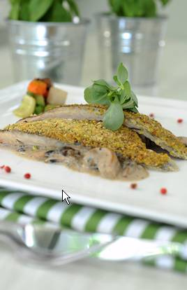 Sea Bass with Orange Crust and Mushroom Sauce