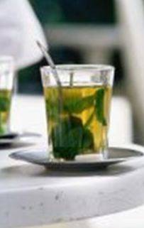 Basil leaves in hot beverages